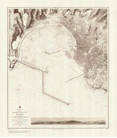Pianta del porto e della città di Genova